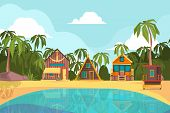 Bungalow Seaside. Summer Beach With Tropical Little House Ocean Hotel Paradise Vector Background. Se poster