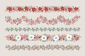 Set Of Christmas Floral Borders, Strings, Garlands Or Brushes. Party Decoration With Fir, Oak And Eu poster