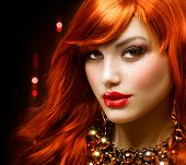 Fashion Red Haired Girl Portrait . Jewelry
