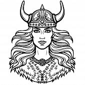 Portrait Of The Beautiful Young Woman Valkyrie In A  Horned Helmet. Pagan Goddess, Mythical Characte poster