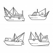 Isolated Object Of Commercial And Vessel Icon. Set Of Commercial And Speedboat Vector Icon For Stock poster