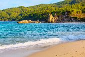 Fava Sandy Beach, Vourvourou, Chalkidiki Or Halkidiki, Greece Summer Sunset Scenery With Turquoise S poster