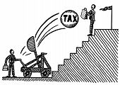 Freehand Pen Drawing Of Business Man Atop Staircase Using Briefcase To Protect Himself Against Tax C poster