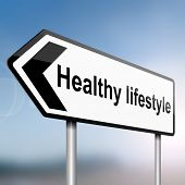 stock photo of healthy food  - illustration depicting a sign post with directional arrow containing a healthy lifestyle concept - JPG