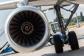 Aircraft Jet Engine Detail In The Exposition. Turbine Engine Profile. Aviation Technologies. Airport poster