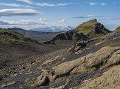 Icelandic Lava Desert Landscape With View On Tindfjallajokull Glacier Mountains And Green Hills. Fja poster