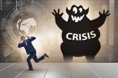 Businessman suffering from economic crisis poster