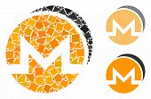 Monero Coins Mosaic Of Uneven Items In Different Sizes And Color Tints, Based On Monero Coins Icon.  poster