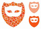 Mask Shield Mosaic Of Rough Pieces In Different Sizes And Color Tints, Based On Mask Shield Icon. Ve poster