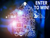 Conceptual Hand Writing Showing Enter To Win. Business Photo Text Exchanging Something Value For Pri poster