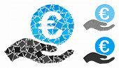 Euro Salary Mosaic Of Abrupt Pieces In Different Sizes And Color Tints, Based On Euro Salary Icon. V poster