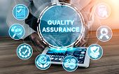 Quality Assurance And Quality Control Concept - Modern Graphic Interface Showing Certified Standard  poster