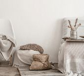 Modern Interior With Home Items . Coziness And Comfort At Home . poster