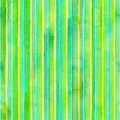 Watercolor Stripe Seamless Pattern. Colorful Teal Yellow Green Stripes Background. Watercolour Hand  poster