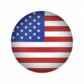 American Flag Illustration Circle On White Background. American Symbol. American Flag Icon Isolated. poster