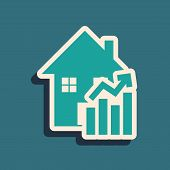 Green Rising Cost Of Housing Icon Isolated On Blue Background. Rising Price Of Real Estate. Resident poster