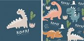 Set Of Cute Dinosaur Print And Seamless Pattern With Dinosaurs. Vector Illustration poster