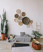 Exotic Interior. Interior Design Elements. Flat Lay poster