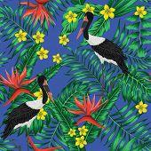 Tropical Plants And Beautiful Exotic Crane Birds Seamless Vector Wallpaper. Palm Banana Monstera Lea poster