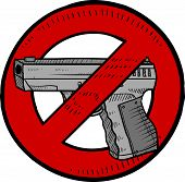 picture of bill-of-rights  - Doodle style handgun ban or gun control illustration in vector format - JPG