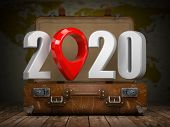 2020 Happy new year. Vintage suitcase with number 2020 and navigation pin. Travel and tourism concep poster
