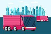 Autonomous Driverless Unmanned Transportation Pink Truck Vehicle On Future Metropolis City Street. S poster