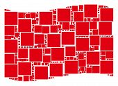 Waving Red Flag Collage. Vector Filled Square Pictograms Are Organized Into Mosaic Red Waving Flag C poster