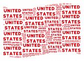 Waving Red Flag Collage. Vector United States Text Design Elements Are Combined Into Mosaic Red Wavi poster
