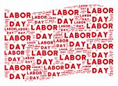 Waving Red Flag Collage. Vector Labor Day Text Design Elements Are Organized Into Mosaic Red Waving  poster