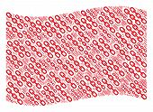 Waving Red Flag Collage. Vector Chain Elements Are United Into Conceptual Red Waving Flag Collage. P poster