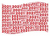 Waving Red Flag Collage. Vector 2021 Year Text Design Elements Are Grouped Into Mosaic Red Waving Fl poster