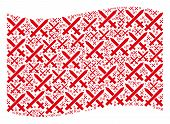 Waving Red Flag Collage. Vector Crossing Swords Elements Are United Into Mosaic Red Waving Flag Coll poster
