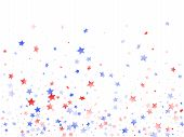 American Presidents Day Stars Background. Confetti In Usa Flag Colors For Independence Day.  Minimal poster