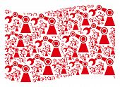 Waving Red Flag Collage. Vector Industrial Robot Elements Are Grouped Into Conceptual Red Waving Fla poster