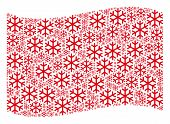 Waving Red Flag Collage. Vector Snowflake Elements Are Grouped Into Conceptual Red Waving Flag Colla poster