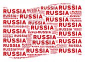 Waving Red Flag Collage. Vector Russia Text Design Elements Are Organized Into Geometric Red Waving  poster