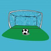 Football Goal Icon. Vector Illustration Of Football Goal With Ball. Hand Drawn Ball Near The Footbal poster