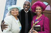 stock photo of piety  - Portrait of senior African American women and Reverend - JPG