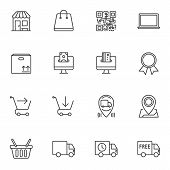 Ecommerce Line Icons Set. Linear Style Symbols Collection, Outline Signs Pack. Vector Graphics. Set  poster