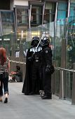 LAS VEGAS, USA - APRIL 25: Darth Vader and Storm Trooper impressionists in Las Vegas. 4th May is Int