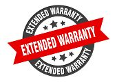Extended Warranty Sign. Extended Warranty Black-red Round Ribbon Sticker poster