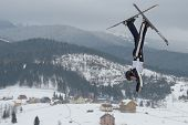 BUKOVEL, UKRAINE - FEBRUARY 23: Emily Cook, USA performs aerial skiing during Freestyle Ski World Cu
