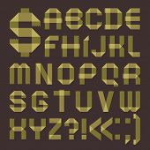 Font from greenish scotch tape -  Roman alphabet