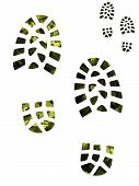 stock photo of camoflage  - Camoflage and green boot prints - JPG