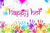 stock photo of dharma  - illustration of colorful hand print in Happy Holi background - JPG