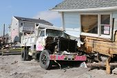 Destroyed beach house and truck four months after  Hurricane Sandy  in Far Rockaway, NY