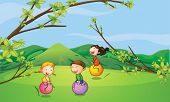 foto of bouncing  - Illustration of happy kids playing with the bouncing balls - JPG