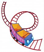 image of kinetic  - Illustration of a roller coaster ride on a white background - JPG