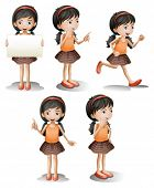 foto of chinese menu  - Illustration of the five different positions of a girl on a white background - JPG