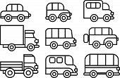 image of beetle car  - set of transport vehicles icons - JPG